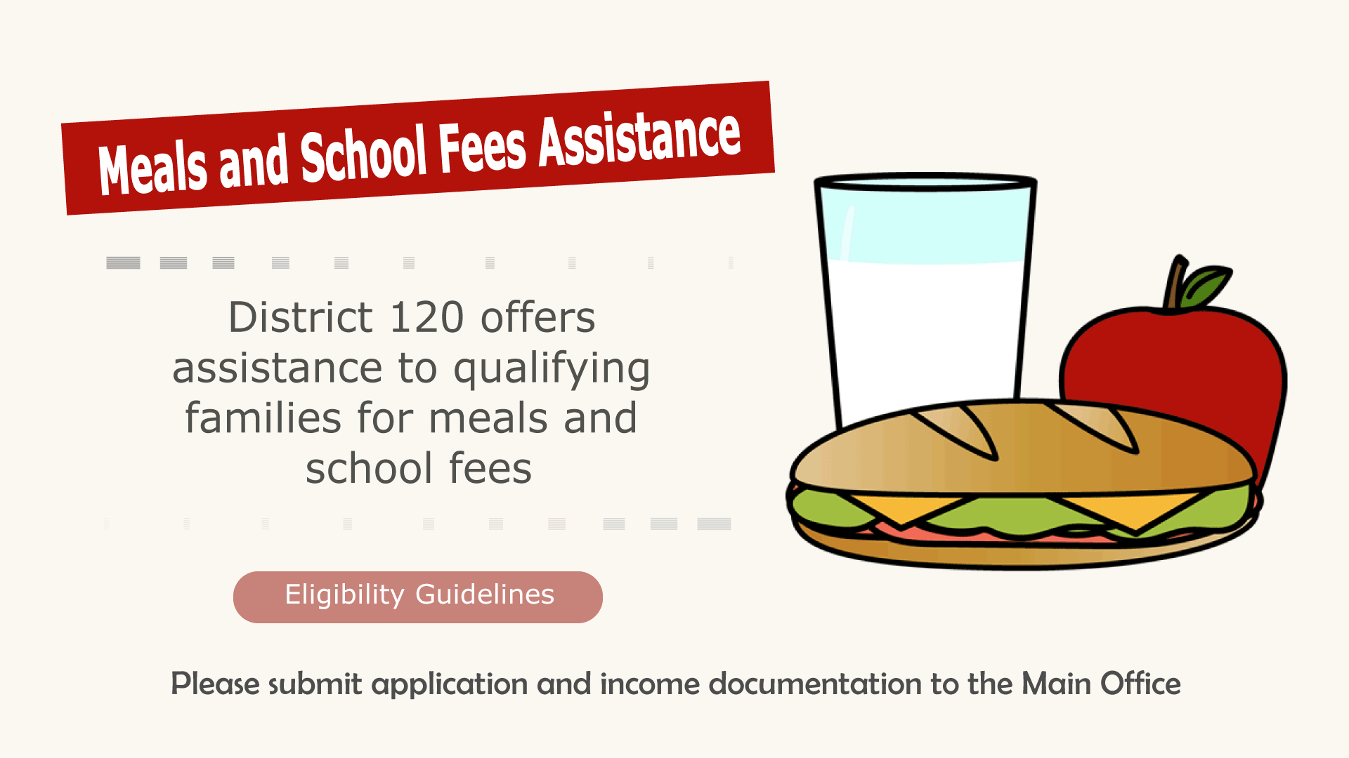 MEALS and SCHOOL FEES ASSISTANCE