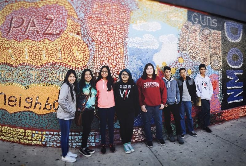 Scholars on mural tour in Pilsen_neighborhood in Chicago