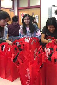 student leadership packing bags